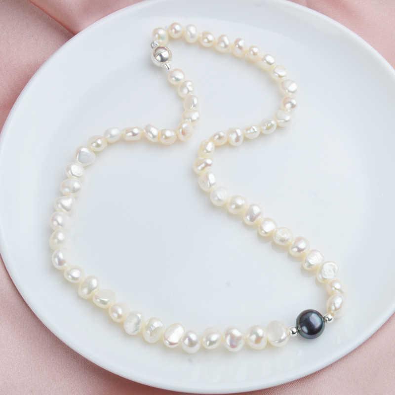 ASHIQI الحقيقي الأبيض المياه العذبة اللؤلؤ قلادة للنساء مع نقية 925 فضة الخرز اليدوية مجوهرات المغناطيسي المشبك