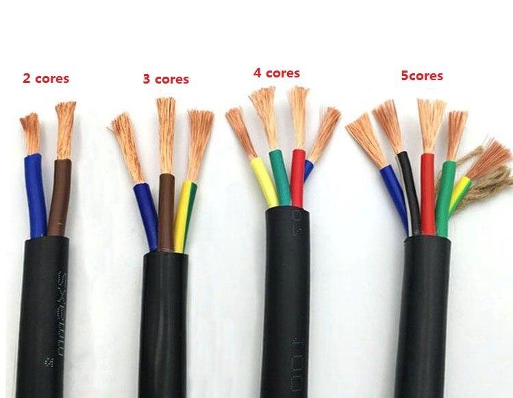 20 AWG 0.5MM2 Rvv 2/3/4/5/6/7/8/10/ 12/14/16/18 Core Pin Tembaga Kawat Konduktor Listrik Rvv Kabel Hitam