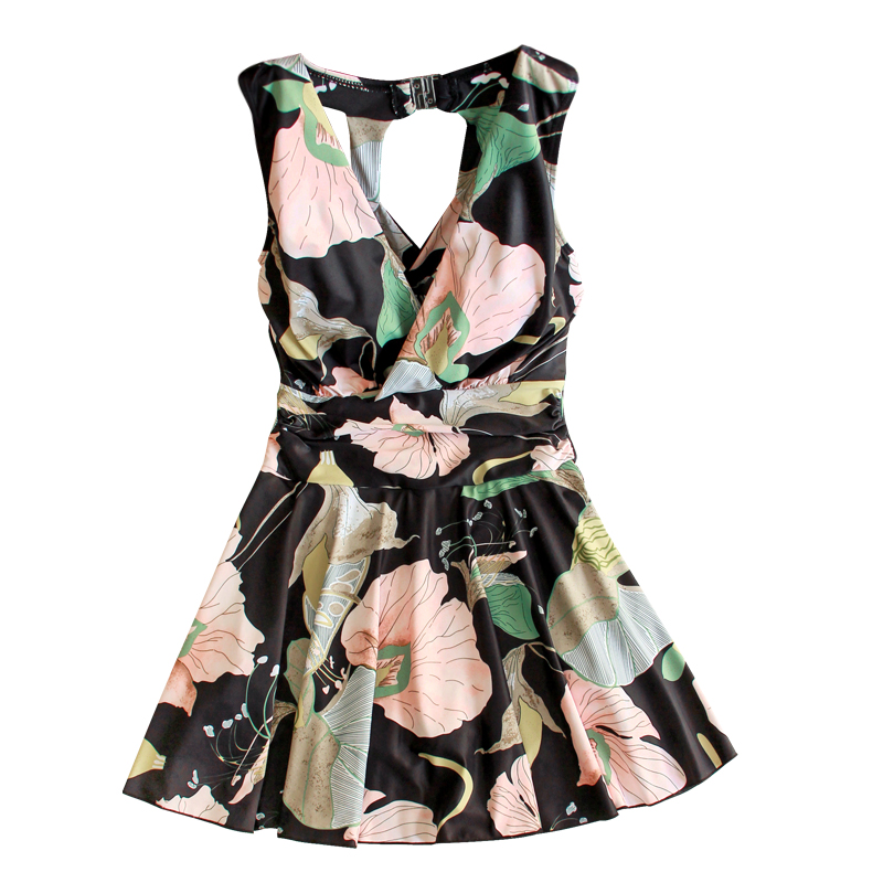 Women's Plus Size Swimwear One Piece Swimsuit Floral Printed V-Neck Sexy Bathing Suit High Waist Summer Beach Vintage Swimsuit sexy floral print strap one piece swimsuit biquini high waist swimwear bodysuit flower monokinis women beach swim bathing suit