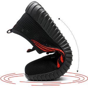 Image 2 - Steel head mesh mens safety shoes, lightweight and breathable mens work shoes, non slip wearable mens boots rubber sole