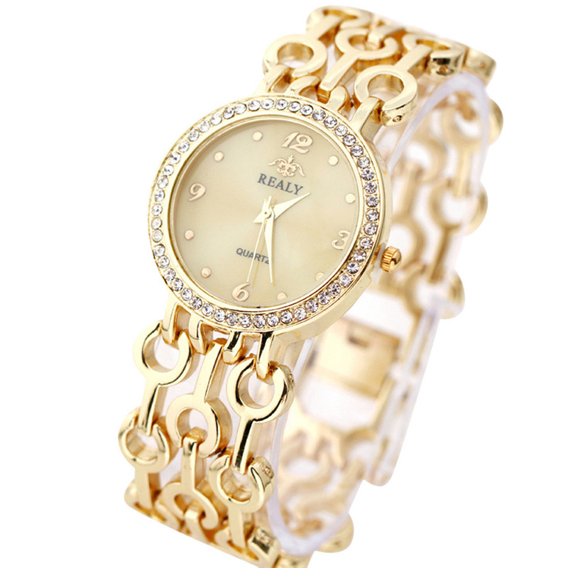 Fashion Stainless Steel Link Chain Strap Bracelet Watches Women Small Round Dial Rhinestone Table relogio Women 's Watches dinioh lady s stainless steel round dial