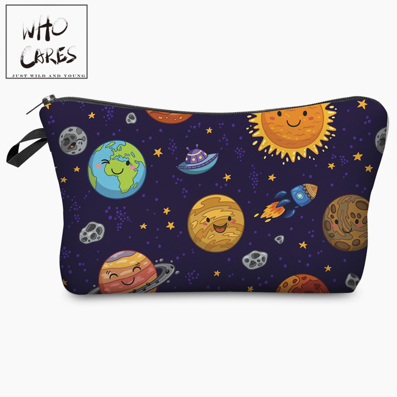 Kawaii Space Planet Funny Character 3D Print Cosmetic Bag 2018 Women Organizer Makeup Toiletry Bag with Zipper Neceser Trousse unicorn 3d printing fashion makeup bag maleta de maquiagem cosmetic bag necessaire bags organizer party neceser maquillaje