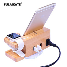FULAIKATE Bamboo Wood Charging Holder for iPhone 6 Plus Desk Stand CellPhone Tablet PC Mobile Phone 3 USB Ports Dock Station