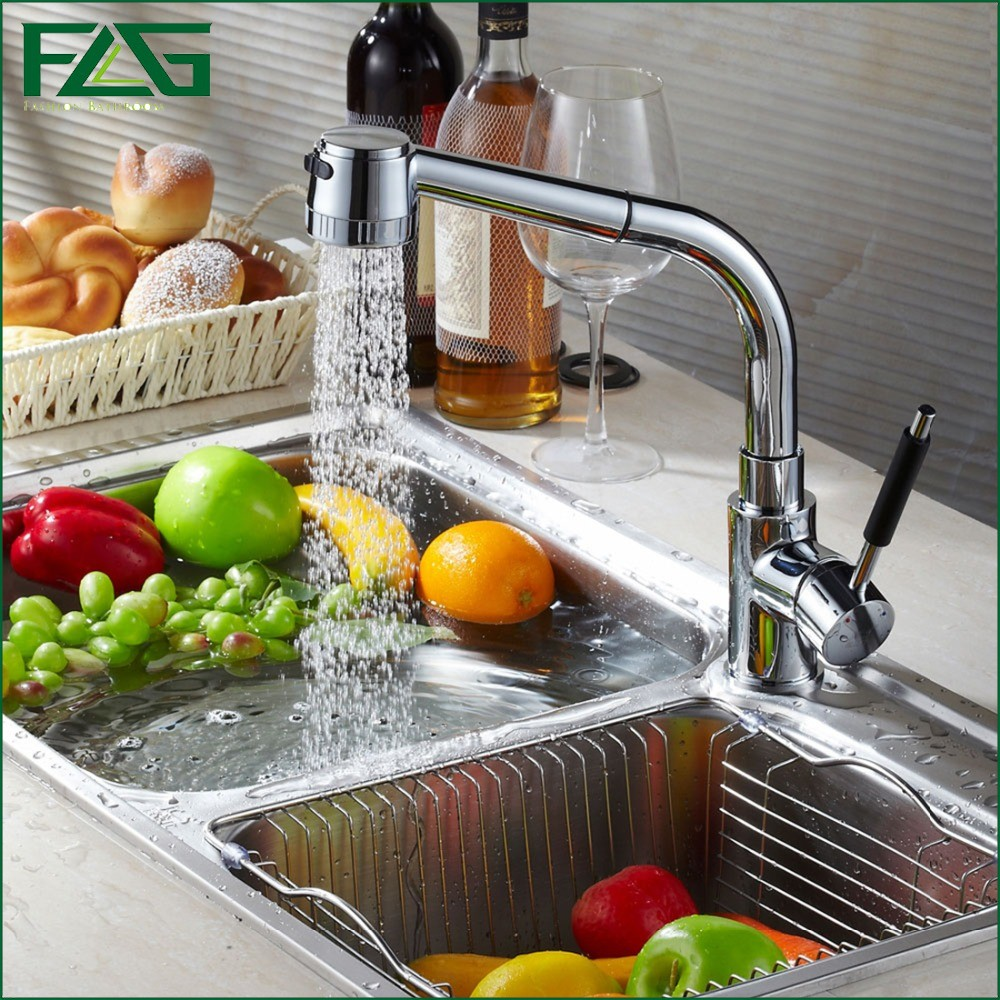 FLG Kitchen Faucet All Around Rotate Swivel 2 Function Water Outlet Chrome Cast Kitchen Tap Mixer