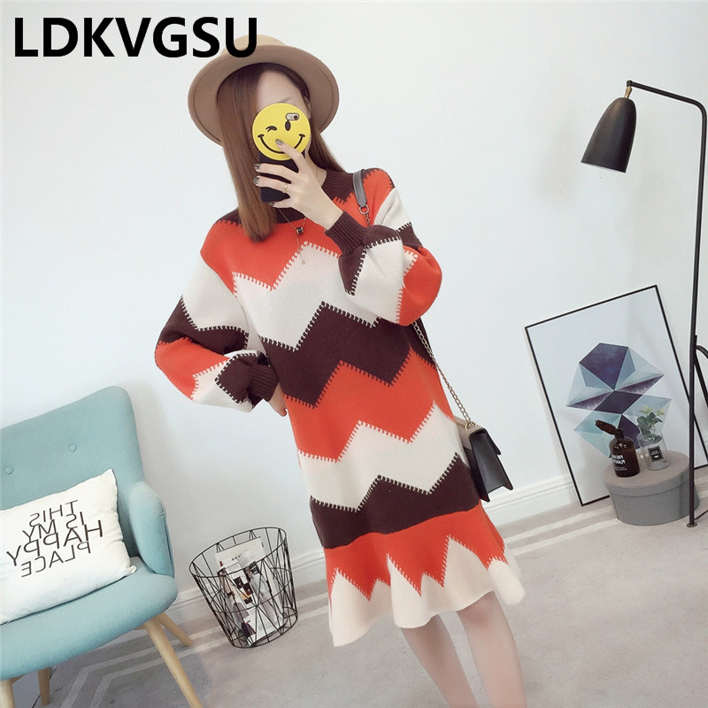 Femme Is853 Yellow Dress Fishtail O Winter New Sweater Thicken Pullover neck Color Wave 2018 Style Preppy Splice Long red Autumn Knit Dress wqHtUHI