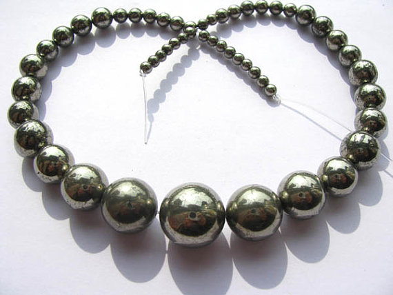 pyrite necklace 2strands 4 12mm genuine Raw pyrite crystal round ball polished iron gold pyrite beads