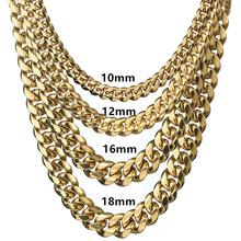 Granny Chic 10-18mm wide Stainless Steel Cuban Miami Chains Necklaces Box Lock Big Heavy Gold Chain for Men Hip Hop Rock jewelry