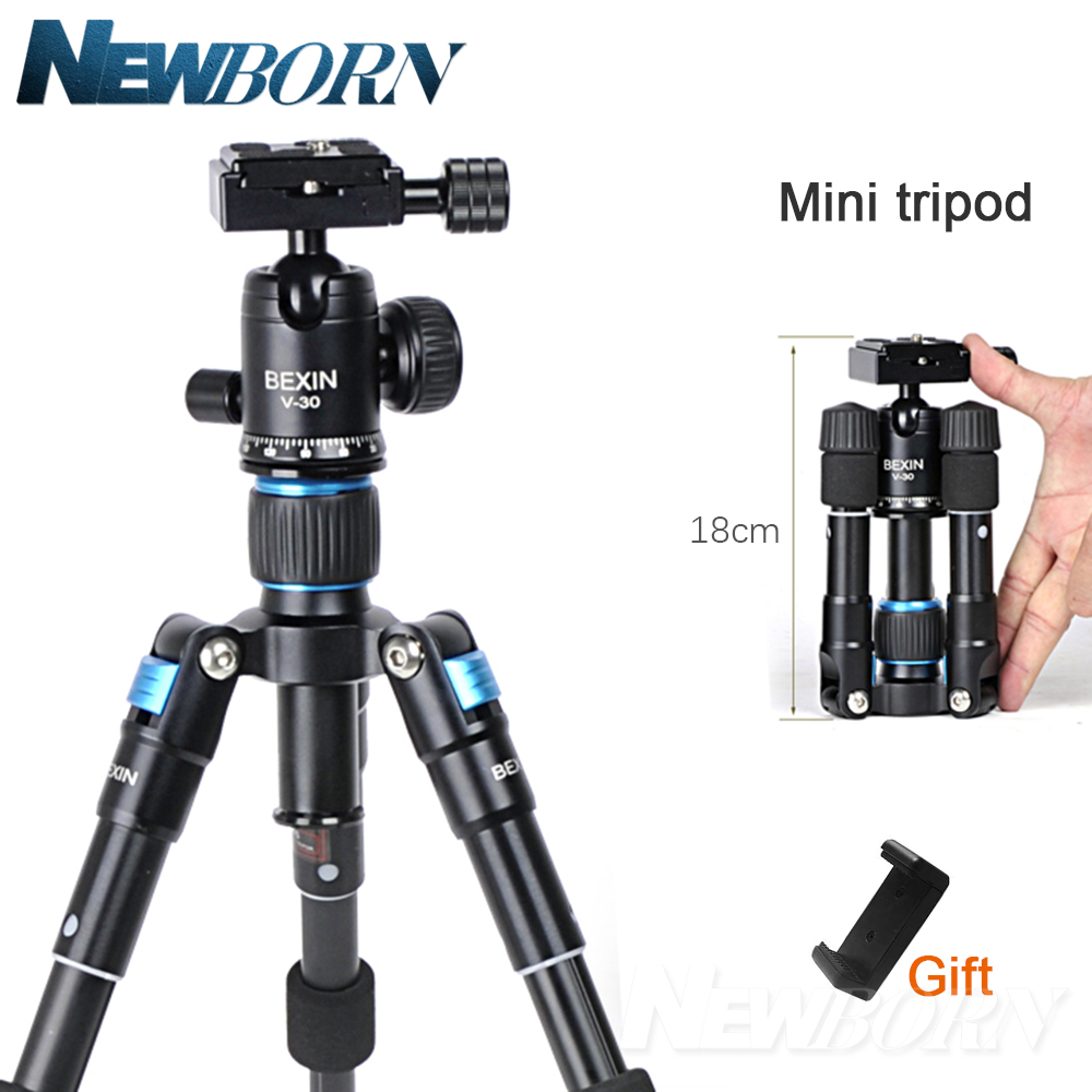 Portable Lightweight Aluminum Camera Tripod Compact Flexible Foldable Desktop Mini Tripod with Ball Head For Sony Nikon Canon bexin lightweight camera tripod aluminum desktop photography compact mini tripod with swivel ball head for canon dslr camera