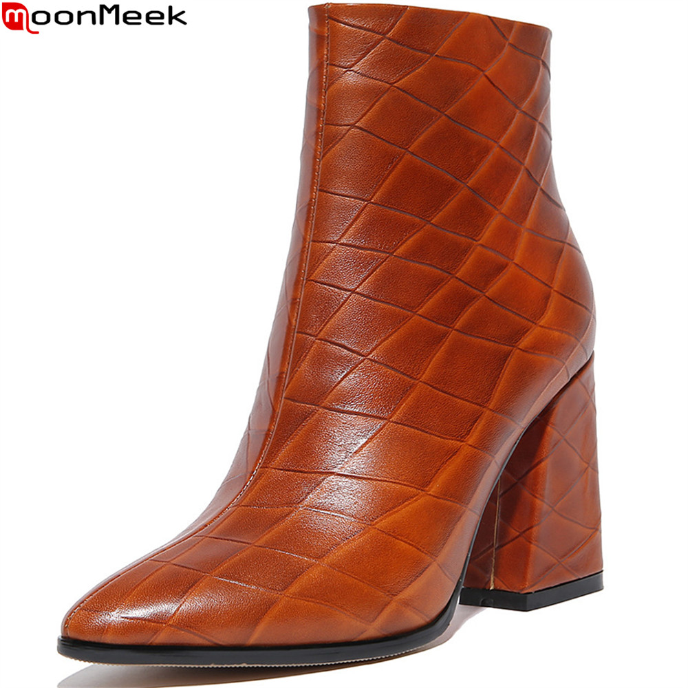 MoonMeek fashion new women boots pointed toe zipper genuine leather boots square heel cow leather ankle boots big size 34-43 memunia fashion women boots round toe genuine leather boots zipper square heel wool keep warm cow leather mid calf boots