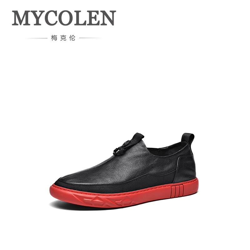 MYCOLEN 2018 High Quality Handmade Genuine Leather Shoes Men White Luxury Soft Flats Shoes Casual Mens Loafers Schuhe Herren hanbaidi luxury handmade string beads mens sneakers runway genuine leather white low top mens casual shoes round toe flats men