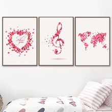 Abstract Petals Heart Map Musical Note Wall Art Canvas Painting Nordic Posters And Prints Pictures Kids Room Unframed