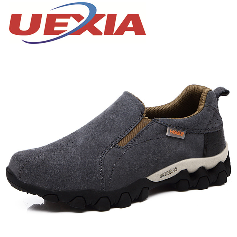 UEXIA Men'S Casual Shoes Breathable Cow Suede Slip On Shoes Fashion Men Outdoor Sport Sneakers Spring Autumn Zapatillas Hombre 2017 spring autumn casual genuine leather breathable men shoes han style tide fashion men manual waterproof slip on drive shoes