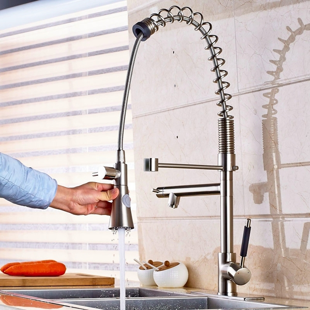 Deck Mount Brushed Nickel Kitchen Sink Faucet Spring Sprayer Mixer