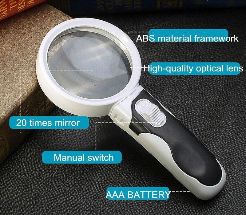 5 Mal Optische Lupe Mit Beleuchtung Durchmesser 80mm Handheld Lupe Für Lesen Led-leuchten Lupe Lupa De Cabeca