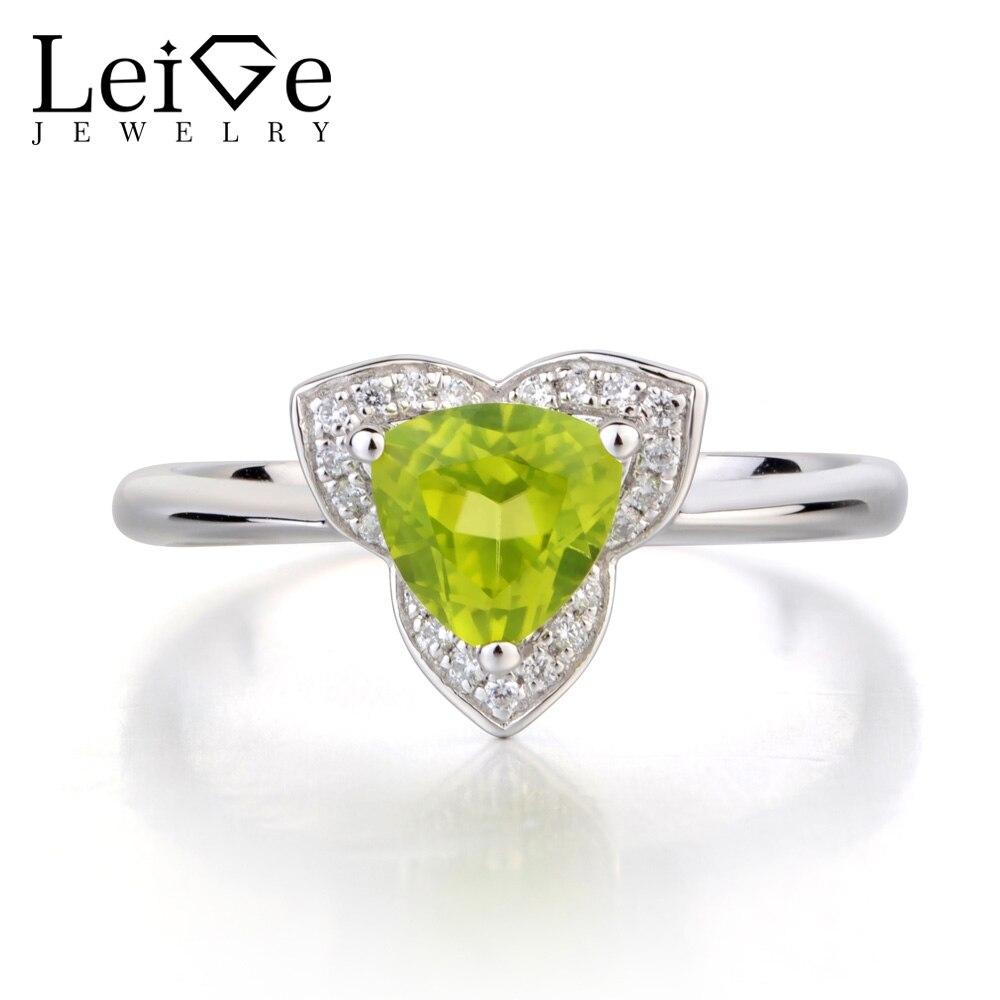 купить Leige Jewelry Natural Peridot Wedding Ring Solid 925 Sterling Silver Trillion Cut Green Gemstone August Birthstone Ring for Her по цене 6527.76 рублей