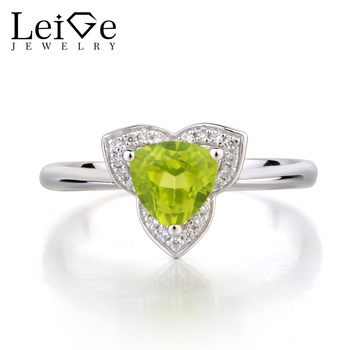Leige Jewelry Natural Peridot Wedding Ring Solid 925 Sterling Silver Trillion Cut Green Gemstone August Birthstone Ring for Her