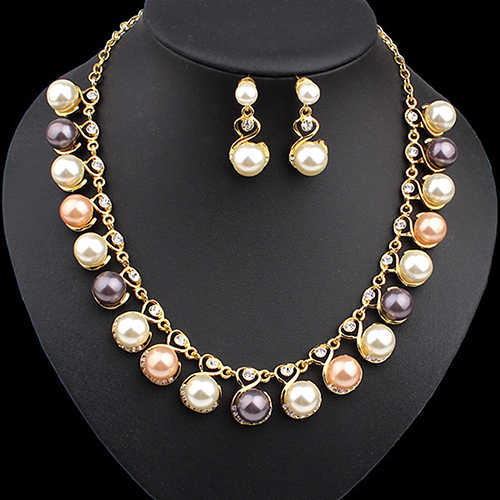 Women Faux Pearls Rhinestone Chain Necklace Earrings Wedding Bride Jewelry Set FD156WE  G6KI6