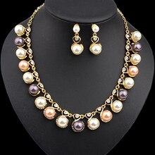 Women Faux Pearls Rhinestone Chain Necklace Earrings Wedding