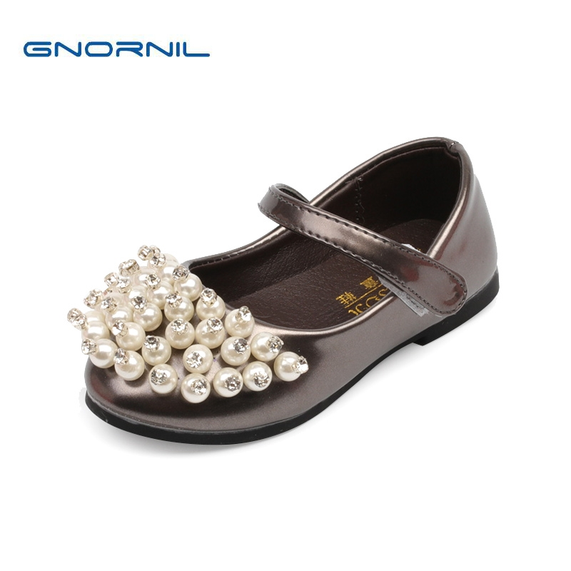Spring Autumn Children Shoes 2017 New Fashion Pearl Girl Princess Shoes Flat Soft Toddler Baby Pu Leather Shoes Kids Dress Shoes