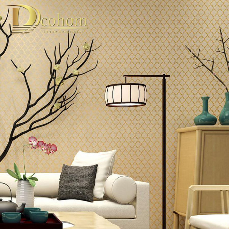 Modern Vintage Simple Chinese Plaid Wallpaper For Walls Study Dining-Room Bedroom Living room Decor Home Wall paper Rolls simple particle embossed plaid glitter flower wallpaper living room tv background modern wall covering floral wall paper rolls