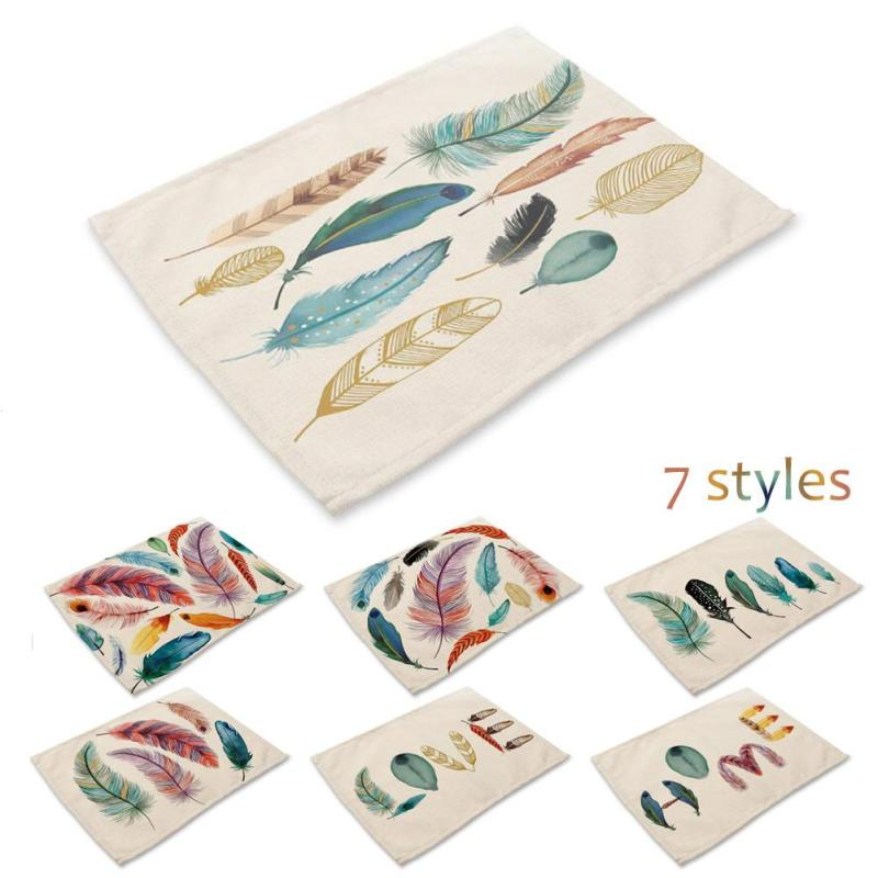 New Cotton Mat Color Feather Western Cotton Pad Printed Meal Tableware Mat Home Bar Restaurant Dining Table Cotton Pad A30