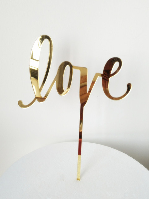 meya gold mirror love acrylic wedding cake topper cursive letters rustic decoration