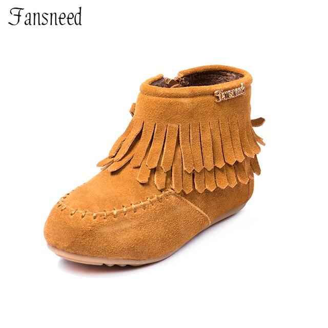 2017 nouveaux Enfants chaussures filles chaussures Vache Muscle semelle gland zipper bottes en cuir chaussures