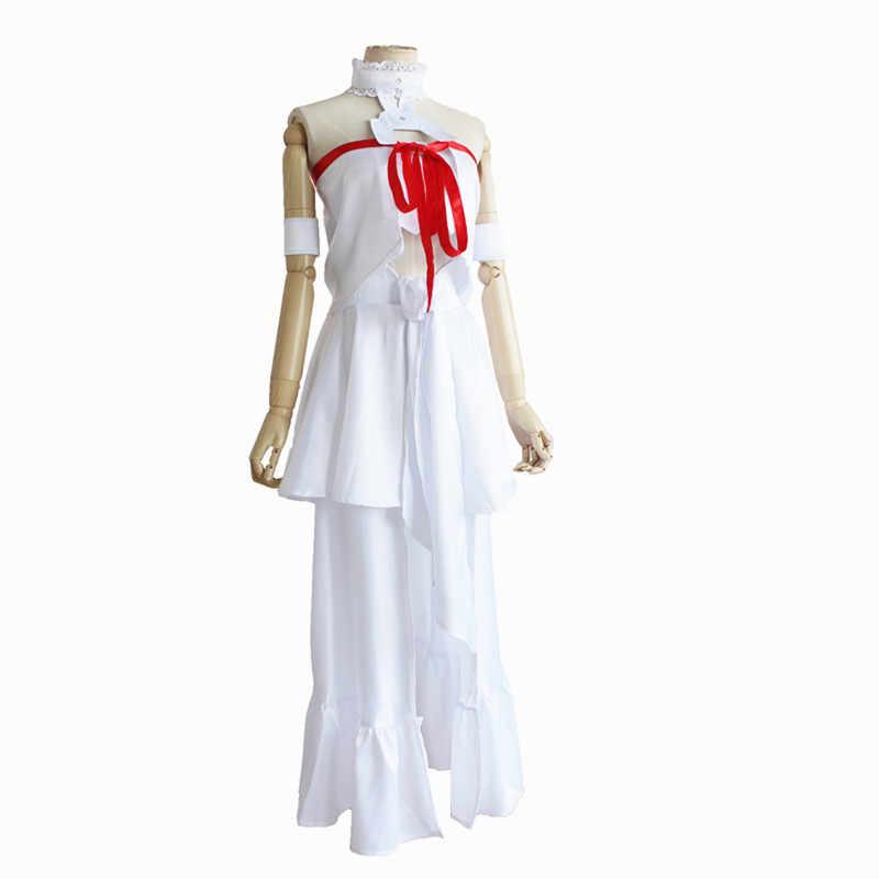 Japoński Anime Sword Art Online Cosplay kostium Asuna kostium Yuuki Perucas seksowna biała sukienka dla kobiet Cosplay kostium peruka
