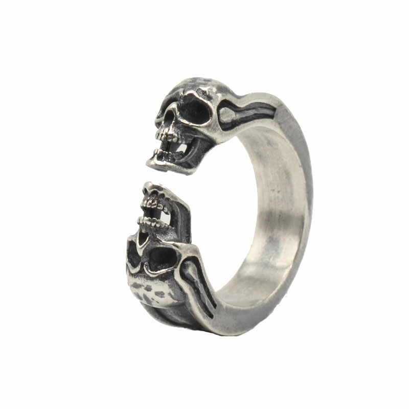Solid Silver 925 Gothic Punk Skull Cuff Band Rings Men Women Real 925 Sterling Silver Jewelry Cool Fashion Silver 925 Bijoux solid silver 925 vajra pendant charms for necklace men real 925 sterling silver jewelry gothic punk style thai silver bijoux men