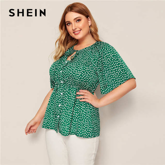 SHEIN Plus Size Green Daisy Floral Button Front Knot Peplum Top Blouse Women Round Neck Flare Sleeve Boho Summer Plus Blouses 1