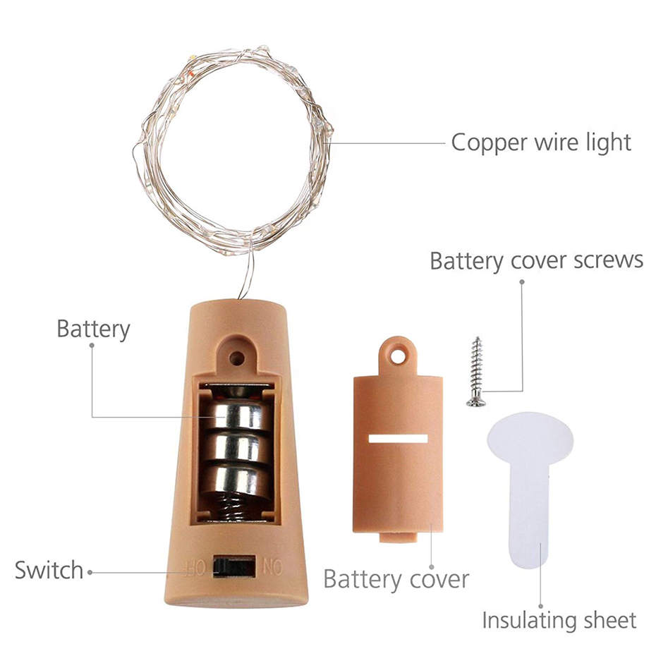 wine bottle lights wiht cork, battery operated led cork shape silver copper wire colorful fairy mini string lgihts for DIY