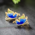 Blue Butterfly 2017 Vogue Enamel Solid 925 Sterling Silver Stud Earrings