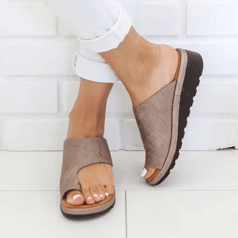 Women Shoes PU Leather Comfy Thick Platform Creeper Flat Sole Wedge Ladies Casual Slippers Open Toe Foot Sandal Plus Size 35-43