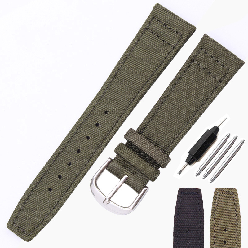 HENGRC Brand Nato Strap Canvas Nylon Watchbands 20mm 21mm 22mm Black Green High Qualiyt Watch Band Bracelet With Pin Buckle цена и фото