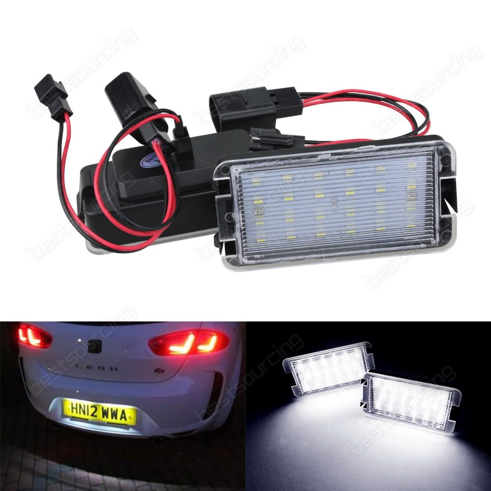 SEAT LED Licence Number Plate Light White Altea Arosa Cordoba Ibiza leon Toledo(CA236) for seat alhambra iii cordoba ibiza v toledo toledo iv scoe 2015 new 2x6smd 5050led license plate light bulb source car styling