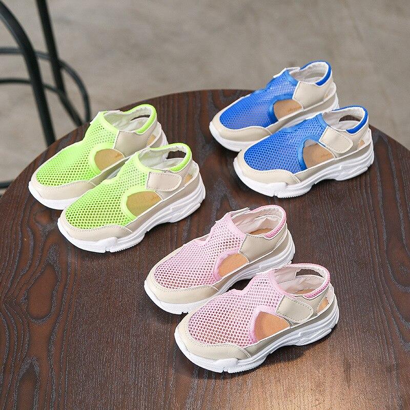 Children girls summer shoes blue mesh breathable sports sandal boys pink flat sandals for girls summer beach sandals kids