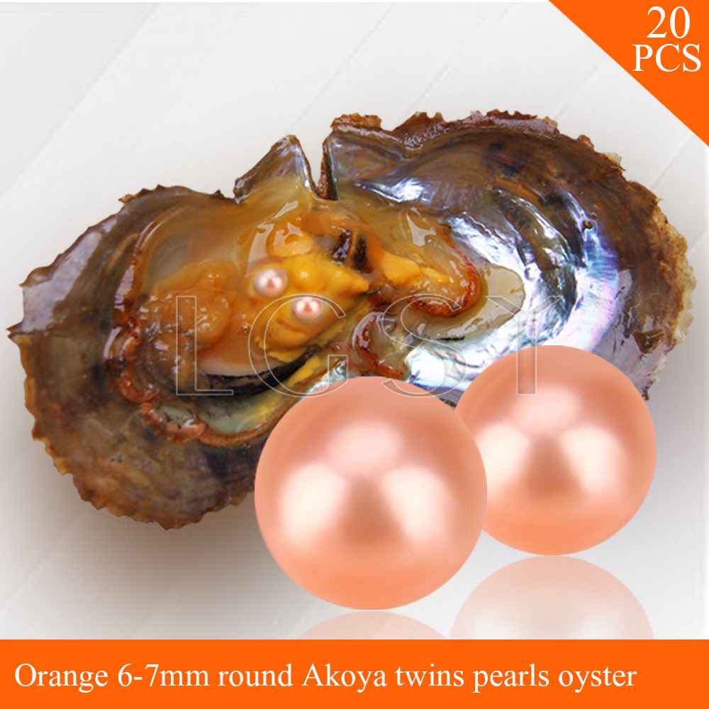 LGSY FREE SHIPPING Bead Orange 6-7mm round Akoya twin pearls in oysters with vacuum package for women jewelry making 20pcs free shipping bead bright purple 7 8mm round akoya twin pearls in oysters with vacuum package for women jewelry making 20pcs