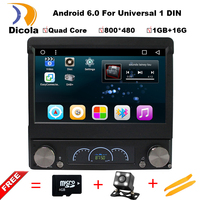 Android 6.0 7 Universal 1 Din Car Audio DVD Player+Radio+GPS+Autoradio+Stereo+Bluetooth+PC+Automotivo+SD USB RDS Aux+camera