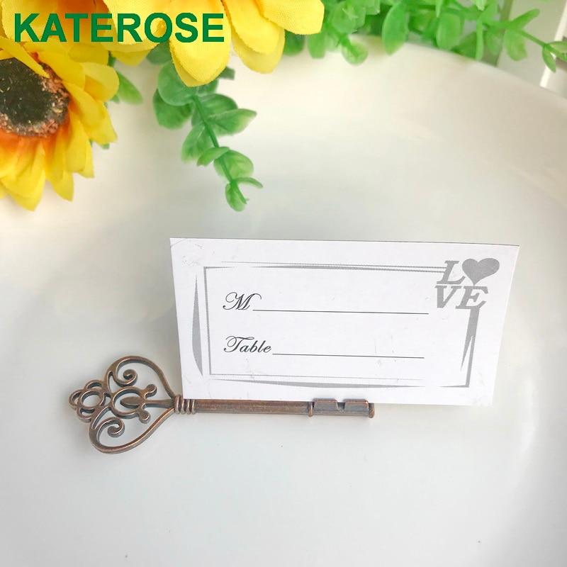 50PCS  Vintage Wedding Favors Antique Bronze Skeleton Key Place Card Holder Party Table Decoration Supplies