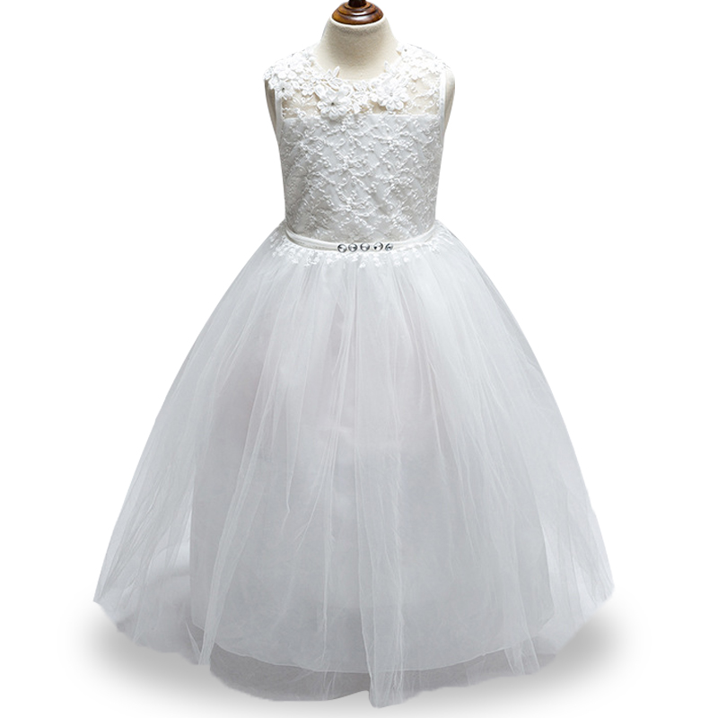 New high quality Girls dress back Hollow out Children's gown Flower girl Wedding dress flowers Bud silk dress Party dress high quality girls baby hollow out bud silk condole belt dress princess party dresses children s clothing wholesale