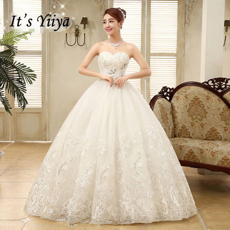 Plus Size Sequins Sweetheart Strapless Style Wedding