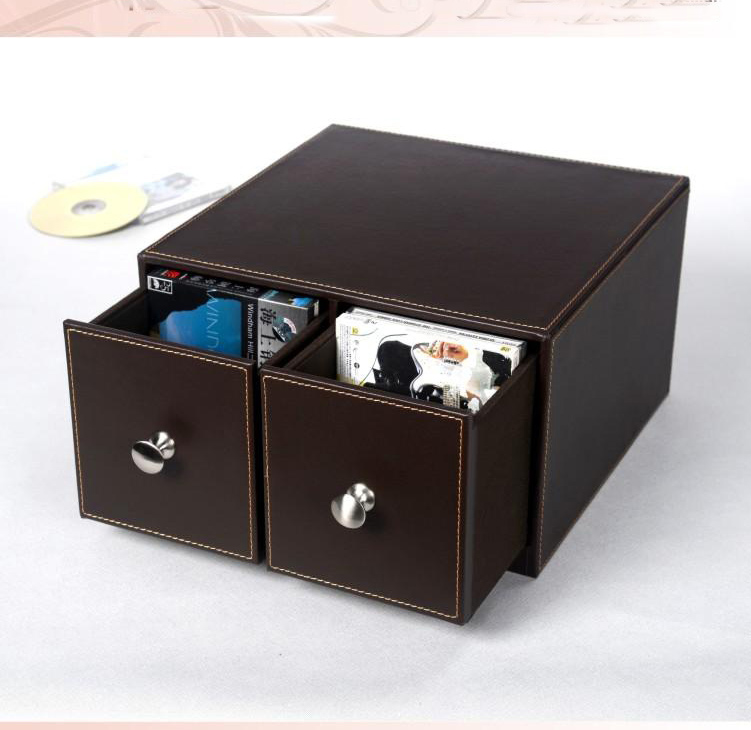 Merveilleux Horizontal Home 2 Drawer Leather Desk CD/DVD Sundries Container Storage Box  Case Organizer Holder Brown 226B In Storage Drawers From Home U0026 Garden On  ...