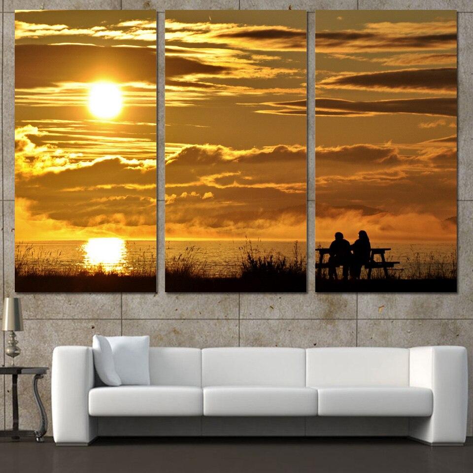 Newlywed Home Decor: 3 Panels Canvas Art Sunset Evening Couple Home Decor Wall