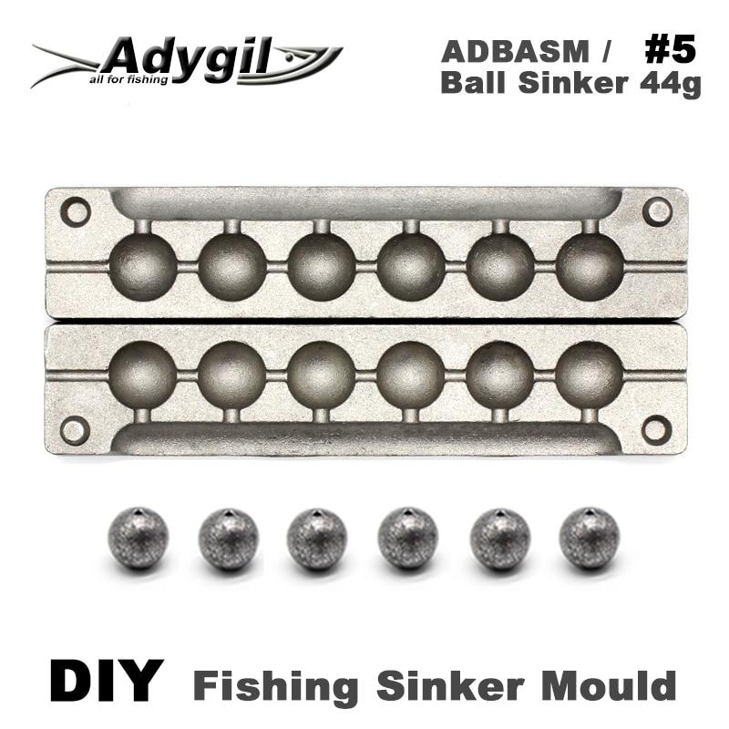Adygil DIY Fishing Ball Sinker Mould ADBASM/#5 Ball Sinker 44g 6 Cavities