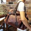Crazy horse PU leather mens travel bag casual large handbag vintage business shoulder bag Preppy Style men messenger duffel bag