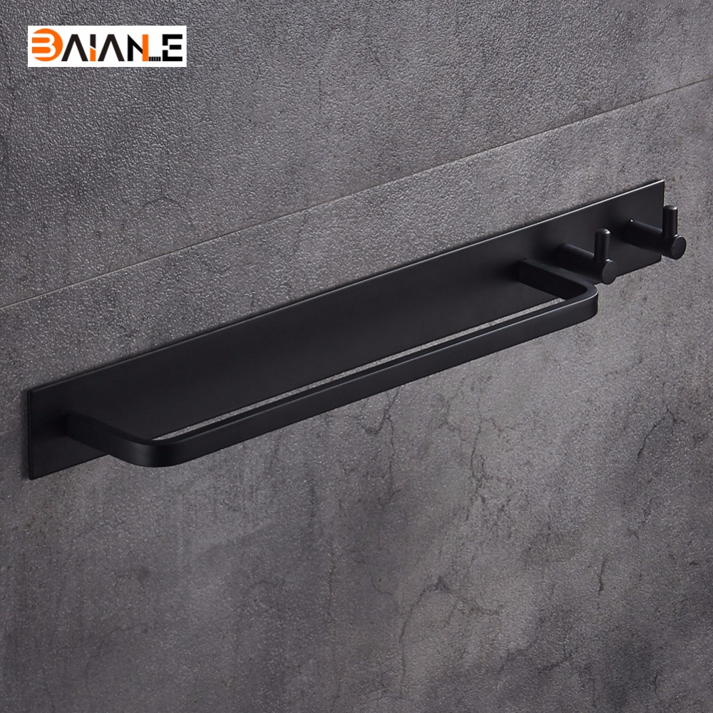 Space aluminum Black Towel Bar With Clothes Hook Hanger Single Towel Bar Towel Holder Bathroom AccessoriesSpace aluminum Black Towel Bar With Clothes Hook Hanger Single Towel Bar Towel Holder Bathroom Accessories