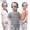 V-TREE Girls T-shirt In Summer Striped Collar Short-sleeved Shirt For Girls Children's Tops Kids Cotton Clothes