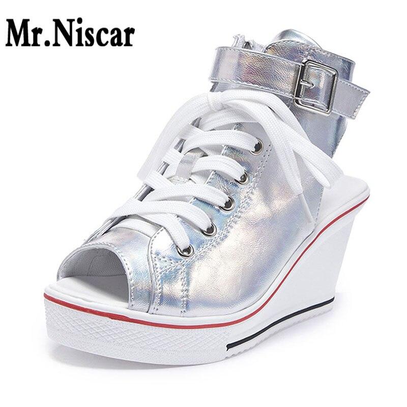 Женские клиновидные сандалии с открытым носком, новинка, корейский Серебряный Леопард, обувь на платформе 8 см, кроссовки, Повседневная парусиновая обувь, кружевные кроссовки Wom|Боссоножки и сандалии|   | АлиЭкспресс