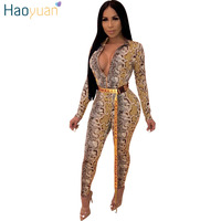 HAOYUAN Snake Print Sexy Rompers Womens Jumpsuit Streetwear Long Sleeve Bodycon Casual Overalls One Piece Full Bodysuit Not Belt
