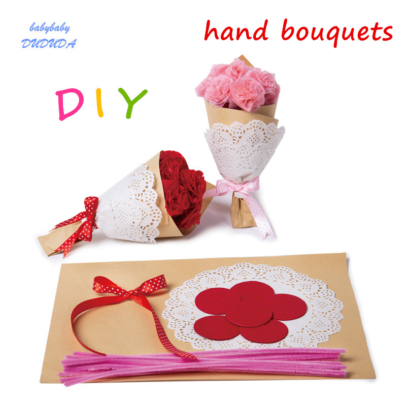 DIY Flowers Paper Hand tied Bouquets Kit Children Craft Toys Gift Decor Holiday card Kindergarten Creative Toys Red Pink 2PCS